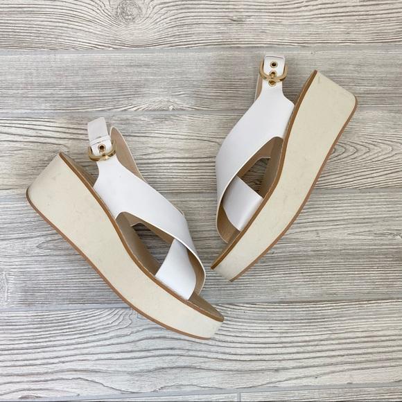 Zara Woman Platform White Sandals